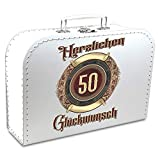 KMC Austria Design Geburtstagskoffer - Koffer für den 50. Geburtstag verziehrt mit ansprechendem Ornament - Pappkoffer weiß 30cm - ALS Geschenk oder für Geschenke