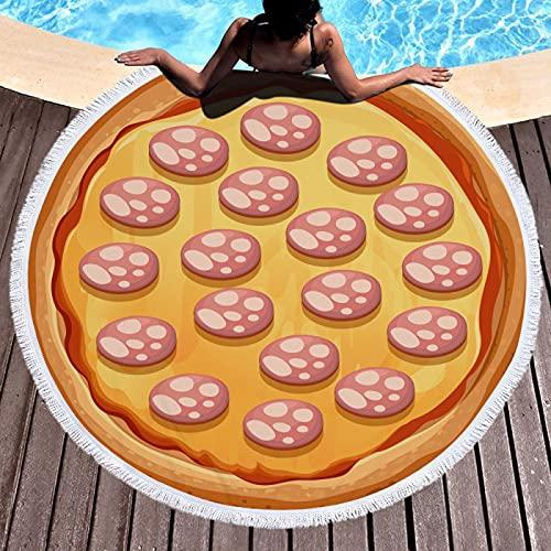 KLily Manta con Estampado De Pizza, Material De Fibra De Poliéster, Toalla De Playa Lavable