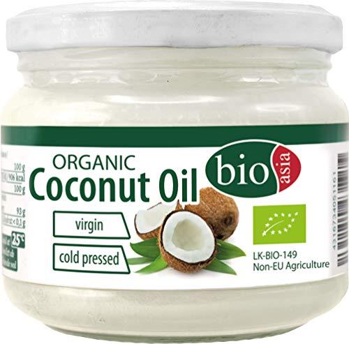 BIOASIA Bio Kokosöl, kaltgepresst, naturbelassen ohne Zusatzstoffe, veganes Fett zum Kochen, Braten und Backen, auch als Naturkosmetik verwendbar, 100 % Bio, 250 ml