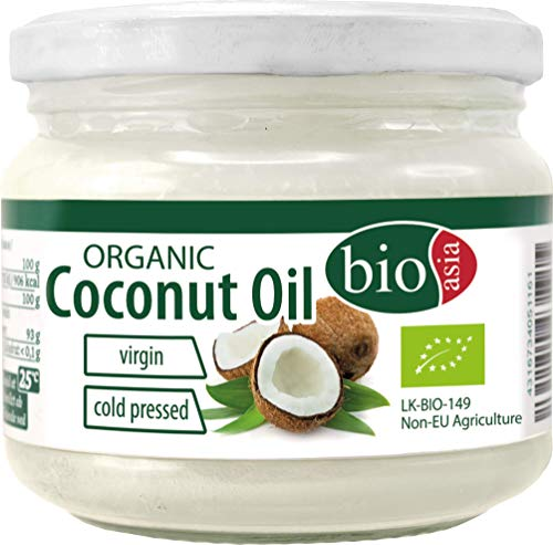 BIOASIA Bio Kokosöl, kaltgepresst, naturbelassen ohne Zusatzstoffe, veganes Fett zum Kochen, Braten und Backen, auch als Naturkosmetik verwendbar, 100 {fc58dc5431f2ac73aa7dbcb064ec703d7eba632e1af5de946605444d51fcbe0f} Bio, 2 x 250 ml