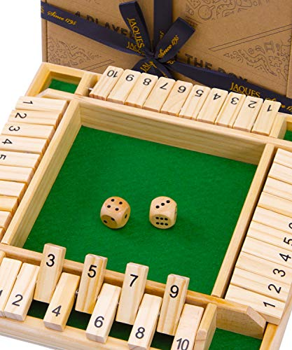 Jaques of London Deluxe Shut The Box Brettspiele - 4 Spieler Shut The Box-Spiel Perfekte Würfelspiele aus Holzspielzeug - Lernspielzeug für 3 4 5 6-Jährige Seit 1795