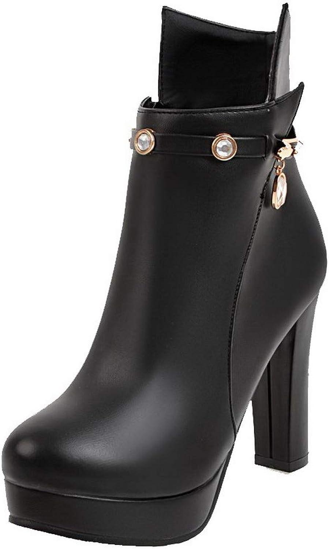 WeiPoot Women's Zipper Closed-Toe High-Heels Pu Low-Top Boots, EGHXH111107