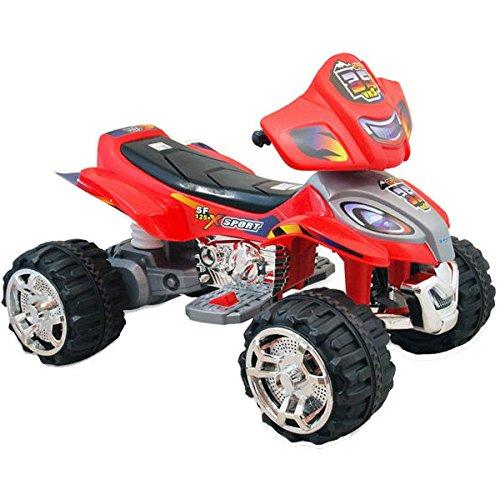 BAKAJI Quad Elettrico per Bambini Mini Moto Auto Elettrica 4 Ruote X Sport 12V Rosso