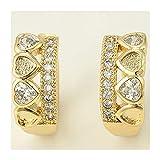 Pendientes Oro Amarillo DE 18 KILATES con Diamantes ENGARZADOS 18K Quilates K ARETES Aros ARRACADAS ZARCILLOS