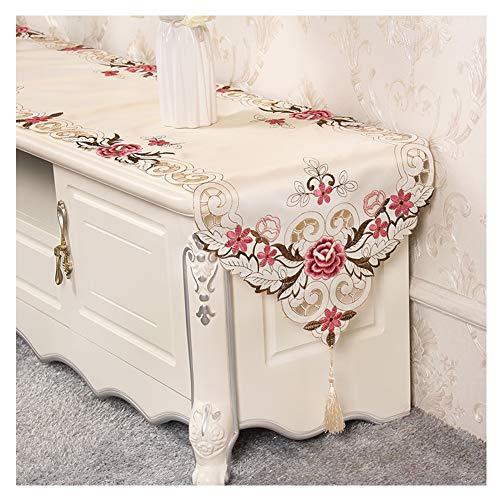 WXIAO tafelloper, modieus, rechthoekig, met de hand geborduurd, eenvoudig tafelkleed, voor vakantie, Pasen, decoratie, stof