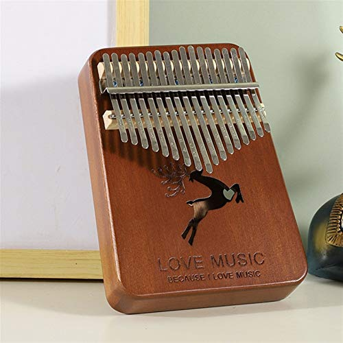 Kalimba, Daumenklavier 17 Keys Kalimba Daumenklavier Mahagoni Mbira Körpermusikinstrumente Pratical Begrenzungsscheibe Holz Kalimba Klavier Creative Music Box (Color : Deer Brown)