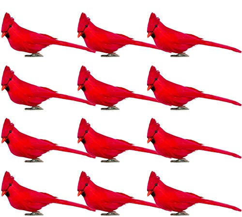 Yistao 12 Pack Red Cardinal Birds Clip-On Cardinal Ornaments Christmas Tree Decoration Artificial Red Birds with Feathers for Wreath Crafts