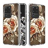 Miagon Trasparente Chiaro Custodia per Samsung Galaxy S20 Ultra,Colorato Design Duro PC e Morbido TPU Interno 2 in 1 Cover Gel Slim Antiscivolo Protettiva Antiurto,Rose Fiore
