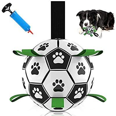Dog Football Fetch Training Toy - Durable Retrieval Straps on Ball for Interactive Tug Games & Bonding Exercises. Suitable for puppies. Soccer with Rope Tab for Throwing & Grabbing by Mungo Pets