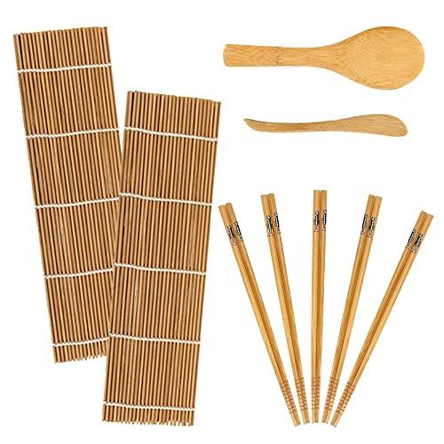 Kit de fabrication de sushis en bambou 9 pièces, tapis à rouler en bambou pour débutants, comprend 2 tapis à rouler en bambou, 5 paires de baguettes, 1 pagaie de riz et 1 spatule à riz