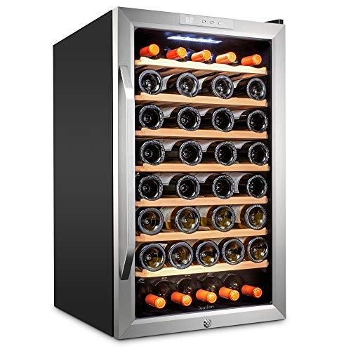 Ivation 51 Bottle Compressor Wine Cooler Refrigerator w/Lock   Large Freestanding Wine Cellar For Red, White, Champagne or Sparkling Wine   41f-64f Digital Temperature Control Fridge Stainless Steel