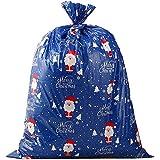 VEYLIN クリスマス ラッピング袋 特大 111*92cm グリーティングバッグ ロープ Thankyouシール 付き (ブルー)