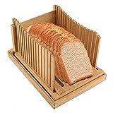 YSYDE Rebanadora de Pan de Madera de bambú, guía de rebanadora de Pan...