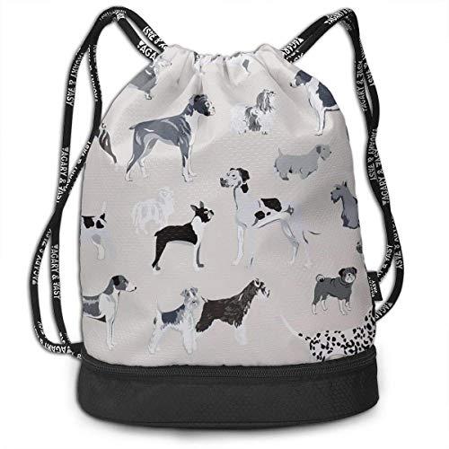 Valender Dog 's Lookout Print Drawstring Backpack Bag Outdoor Bundle Backpack Gym Sackpack Sport Cinch Bag Laptop Sack Bag