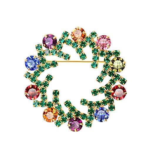 FOCALOOK Damen Weihnachtsbrosche 18k vergoldet Adventskranz Brosche Pins mit bunten Kristall Jacke Dekoration Anstecknadel Frauen Mädchen