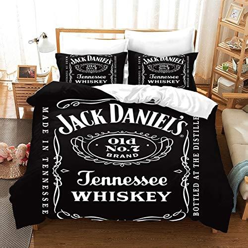 Sallypan Funda Nórdica Whisky Jack Daniels impresión Negro con Cubierta de Almohadas Inglés Alfabeto lecho Individual/Doble/Twin/Full/Queen/King Decoración del Dormitorio,173 * 218cm2pcs