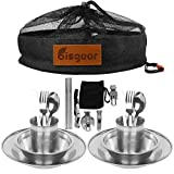 Bisgear 20pcs Stainless Steel Tableware Mess Kit Includes Plate Bowl Cup Spoon Fork Knife Chopsticks Carabiner Wine Opener Dishcloth & Mesh Travel Bag for Backpacking & Camping (Black (20pcs))