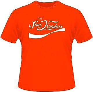 Mister Patch - Maglietta Rock - T-Shir con Logo Jimi Hendrix - Tipo Coca Cola - 100% Cotone - Rossa Nera Gialla e Blu Roya...