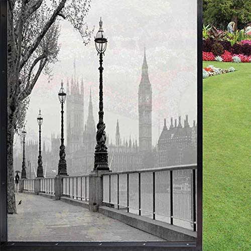 London - Película para ventana (60 x 90 cm), color gris y negro