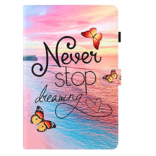 iPad 8th Gen 2020 / iPad 7th Gen 2019 10.2 Inch Case, PU Leather Smart Cover with Auto Wake/Sleep & Stand Function Pen Holder Wallet Protective Shockproof Case for iPad 10.2' Tablet, Dream Butterfly