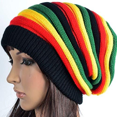 DDMGB Beanie Mütze Mode Winter Gestreifte Männer Frauen Reggae Regenbogen Strickmütze Hüte Casual Günstige Caps Bonnet Girl Boy