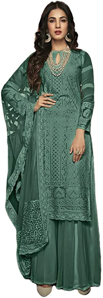 Henith Collection Ready to Wear Pakistani Party Wear Cotton Thread Embroidered Work Straight Salwar Kameez Salwar Suit for Women (Mahendi Green, XS)
