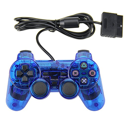 PS2 Wired Controller, Double Shock Dual Vibration Twin Shock Gamepad for Sony Playstation 2, Blue