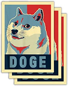 Dogecoin Sticker Change and Hope (Pack of 3 + Bonus) Premium Vinyl Decal for Fans of Dogecoin, Doge, Cryptocurrency, Crypto, Blockchain, Bitcoin, Wallstreetbets, Gamestop, Stonks