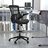 Flash Furniture Mid-Back Black Mesh Ergonomic Drafting Chair with LeatherSoft Seat,...