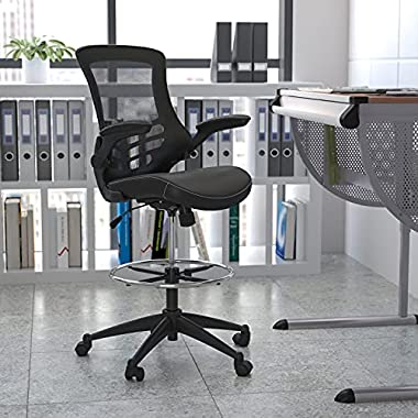 Flash Furniture Mid-Back Black Mesh Ergonomic Drafting Chair with LeatherSoft Seat, Adjustable Foot Ring and Flip-Up…
