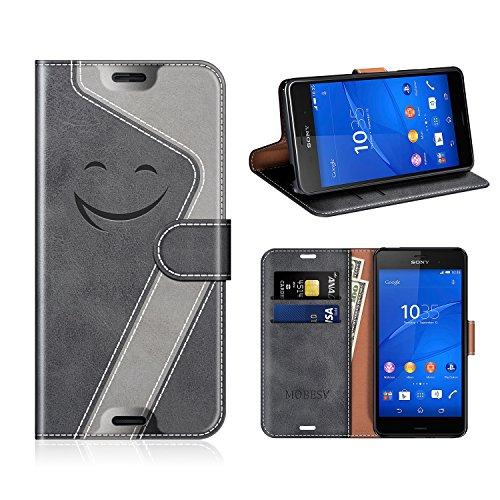 MOBESV Smiley Portefeuille Sony Xperia Z3, Coque Cuir Sony Xperia Z3 Magnétique Étui Housse Cover avec Porte Cartes La Fonction Stand pour Sony Xperia Z3, Noir/Gris