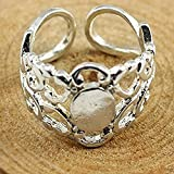 30piece Silver Adjustable Filigree Blank Disc Setting Ring Base 18mm Supplies for Jewelry ...
