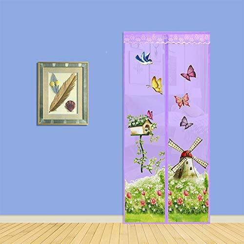 5 kleuren Magnetische Fly Screen Door, Klamboe Mesh Curtain tegen insecten te beschermen Ideaal voor balkondeuren en kelder Deuren,Purple,90 * 210cm