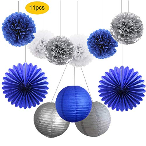 HEARTFEEL Navy Party Decorations - 11pcs Navy Blue Silver White Tissue Pom Poms Paper Lanterns Paper Fans Kit for Baby Shower,Bachorlette,Wedding,Birthday,Grad Party Decorations