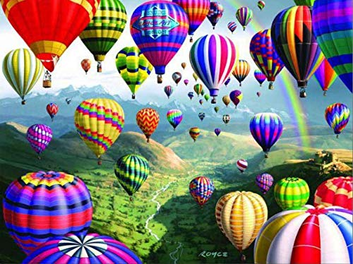YEESAM ART DIY Ölgemälde Malen nach Zahlen Erwachsene Kinder, Bunt Heißluftballon Berg Zahlenmalerei ab 5 Öl Wandkunst (Heißluftballon, mit Rahmen)