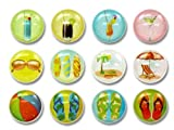 Summer Chillax Relax Flip Flops Sandals Fruit Cocktail Drinks Beach Ball Sunglasses Surfboards 12 Pieces Home Button Stickers for iPhone 5 4/4s 3GS 3G, iPad 2, iPad Mini, iPod Touch