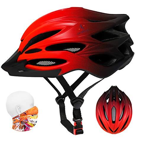ioutdoor Casco da Bici Premium, Certificato CE CPSC, Casco da Bici con Visiera Solare Rimovibile e Rete per Insetti, Casco da Bici Regolabile Super Leggero con Fascia Sportiva (Rosso Sfumato)