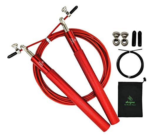 Cuerda para Saltar Crossfit, 2 Cables Acero 300 CM longitud ajustable Rojo y Negro, Mangos Antideslizantes de Aleación de aluminio 16 CM, Fácil de llevar Incluye bolsa de Transporte, Profesional Excelente Calidad, Jump Rope Alegne