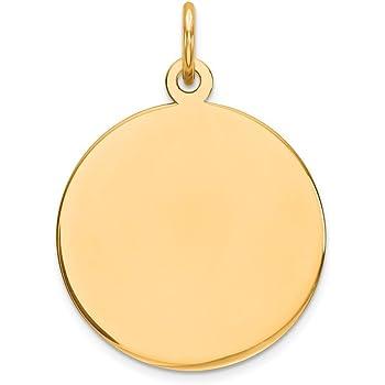 10K Yellow Gold Plain .018 Gauge Circular Engravable Disc Charm