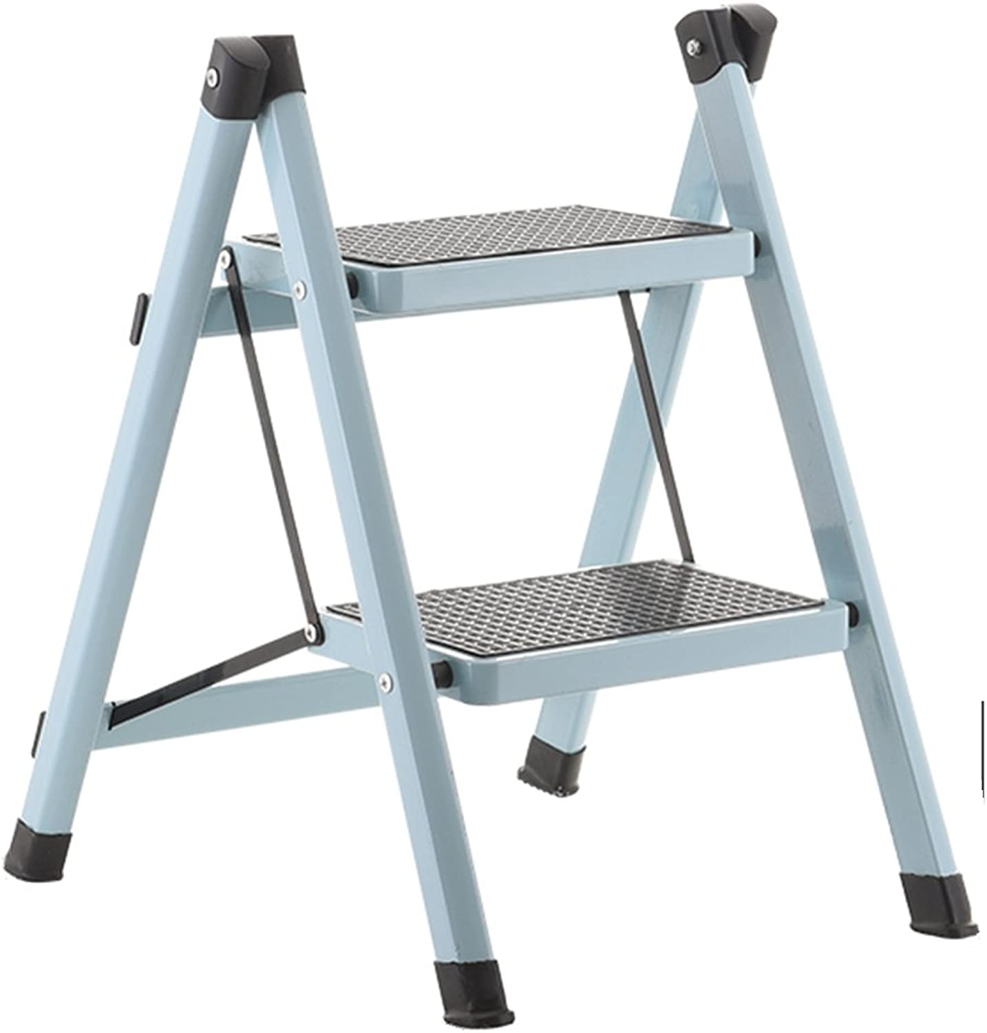 HAIPENG Herringbone Ladder Stool Footstool Small Seat Foldable Step Ladder Pedal Ladder 2 Steps Iron Household Dual-use Utility 12 colors Available 51x40x58cm ( color   Light bluee )