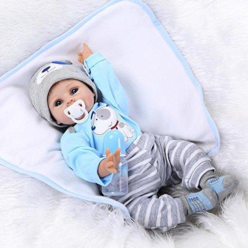 Scnbom 22pulgadas 55cm Reborn Muñecas Bebes niño Ojos Abiertos niñas Juguetes Regalo Realista Silicona Recién Nacido Baby Dolls