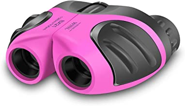 JRD&BS WINL Binoculars Toys for Children,Birthday Gifts for 4-9 Old Year Girls for Outdoor Play,5-12 Old Year Girls Boys Presents,Best Gift for Kids Hunting,Learning (Pink)