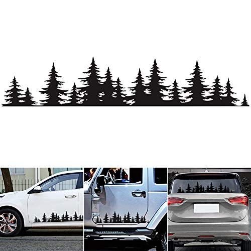 GreceYou Pine Tree Forest Sticker for Car, Vinyl Decal Window Mountains Coast Graphic Sticker for Auto Door Window Bumper Decor