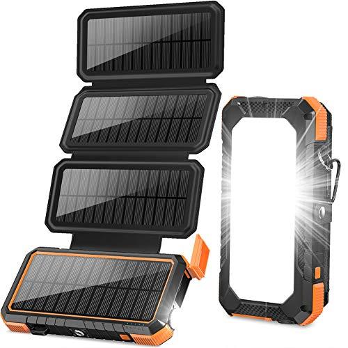 BLAVOR Solarladegerät 20000mAh Power Bank, 18W 3A Schnellladegerät Außenbatterie mit 4 Sonnenkollektoren & Campinglicht & Kompass & PD USB C für Laptop/iOS & Android Phone Charge