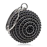 Bolsos Mujer Bolsos De Noche con Borla De Perlas Completas para Mujer Bolso De Embrague De Cadena Mujer Bolso De Banquete Esférico para Fiesta De Bodas Negro
