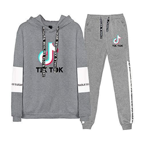 Tik Tok Sportswear Anzug, 2Er Set Set Hoodies Und Jogger Modetrend Männer Und Frauen Outdoor Sport Pullover Sweatshirt,A,XL
