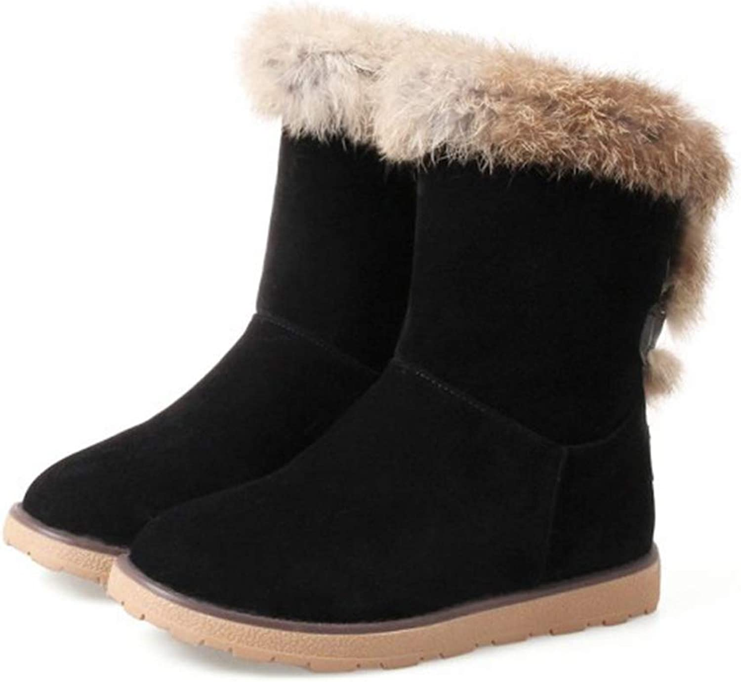 Kyle Walsh Pa Women Casual Snow Boots Girls Warm Fur Round Toe Soft Comfortable Winter Ankle Booties