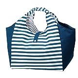 ボーダー柄 マチ付き 幅広 お買い物バッグ ショッピングバッグ 折りたたみ コンパクトにたためる お弁当やお肉のパックの持ち運びに便利