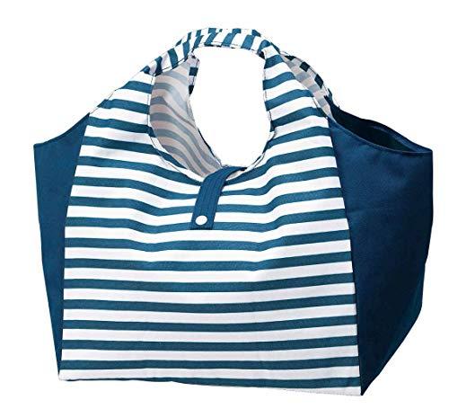 ボーダー柄 マチ付き 幅広 お買い物バッグ ショッピングバッグ エコバッグ 折りたたみ コンパクトにたためる お弁当やお肉のパックの持ち運びに便利