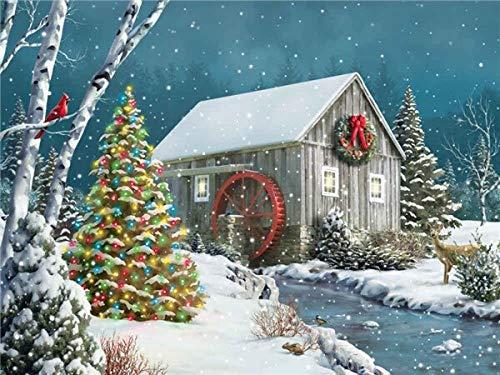 Pintura de diamante de círculo completo nieve 5D DIY bordado casa mosaico punto de cruz decoración de Navidad pintura de diamante para el hogar A1 40x50cm